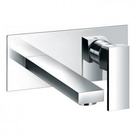 Pura Bloque Two Hole Wall Mounted Basin Filler