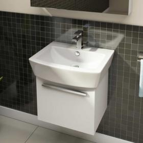 Pura Bloque 55cm Wall Mounted Unit & Basin - White Gloss