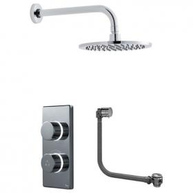 Photo of Britton Contemporary 2025 Dual Outlet Digital Bath/Shower Valve, Shower Head & Overflow Filler