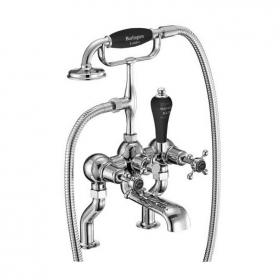 Photo of Burlington Claremont Deck Mounted Bath Shower Mixer With Black Indices