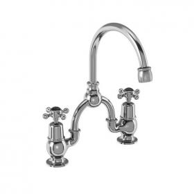 Photo of Burlington Claremont Arch 200mm Basin Mixer With Curved Spout & Black Indices