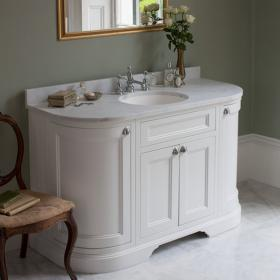 Burlington Matt White 1340mm Curved Freestanding Vanity Unit, Worktop & Basin