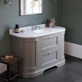 Burlington Olive 1340mm Curved Freestanding Vanity Unit with Door & Drawers, Worktop & Basin
