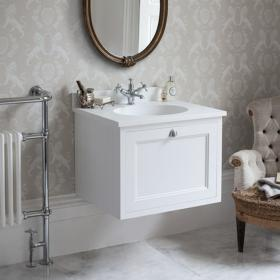 Burlington Matt White 650mm Wall Hung Vanity Unit, Worktop & Basin