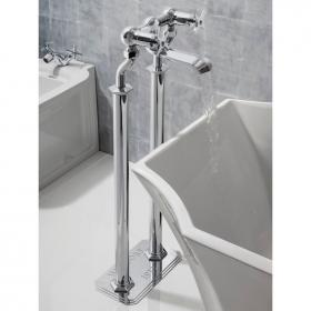 Crosswater Waldorf Chrome Crosshead Floorstanding Bath Filler & Floor Plate