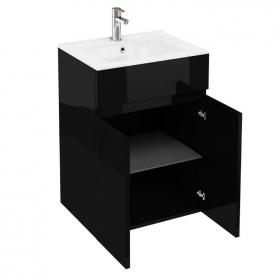 Aqua Cabinets D450 Black 600mm Double Door Unit & Basin