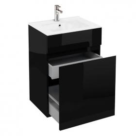 Aqua Cabinets D450 Black 600mm Double Drawer Unit & Basin