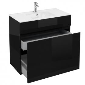 Aqua Cabinets D450 Black 900mm Double Drawer Unit & Basin