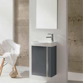 Frontline Elegance Gloss Grey Cloakroom Unit & Mirror