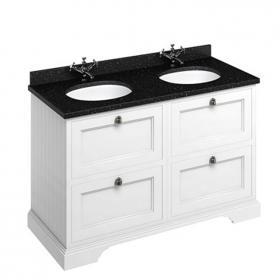 Photo of Burlington Matt White 1300mm Double Vanity Unit with Drawers, Worktop & Basin