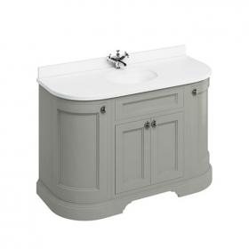 Burlington Olive 1340mm Curved Freestanding Vanity Unit, Worktop & Basin