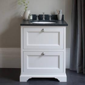Burlington Matt White 650mm Freestanding Vanity Unit with Drawers & Worktop