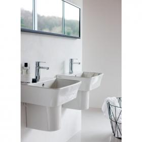Britton Bathrooms Fine 50cm Basin and Round Semi Pedestal