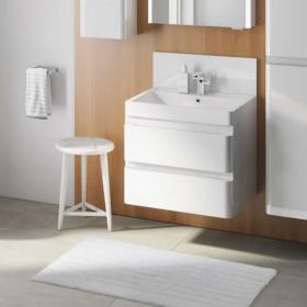 Pura Flite 600mm White Double Drawer Wall Hung Unit & Basin