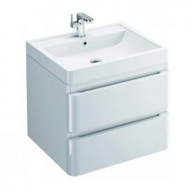 Pura Flite 900mm White Double Drawer Wall Hung Unit & Basin