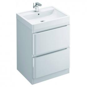 Pura Flite 900mm Double Drawer Floor Mounted Vanity Unit & Basin