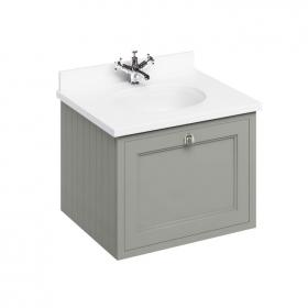 Burlington 650mm Olive Wall Hung Vanity Unit, Worktop & Basin