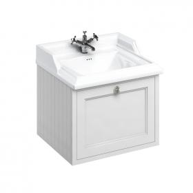 Burlington 650mm Matt White Wall Hung Vanity Unit & Classic Basin