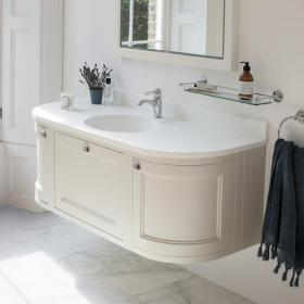 Burlington Sand 1340mm Curved Wall Hung Vanity Unit with Door & Drawers, Worktop & Basin