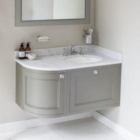 Burlington 1000mm Olive Curved Wall Hung Vanity Unit, Worktop & Basin - Right Hand