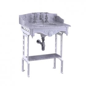 Burlington Georgian Marble Basin & White Aluminium Wash Stand
