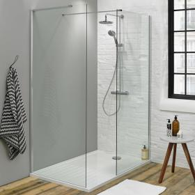 Summit 1400 x 900mm Walk In Shower, End Panel & Tray