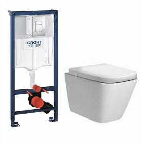 Ninety Wall Hung Toilet & Seat with Grohe Rapid SL 1.13m Cistern Frame & Cosmo Flush Plate