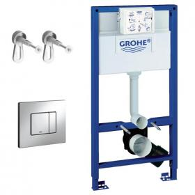 Photo of Grohe Rapid SL 1.0m WC Cistern Frame with Skate Cosmo Flush Plate