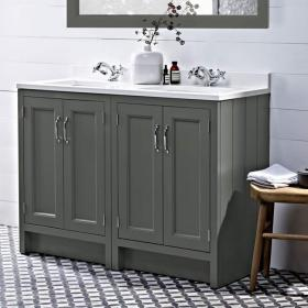Photo of Roper Rhodes Hampton 1200mm Pewter Underslung Vanity Unit with Basin & Worktop