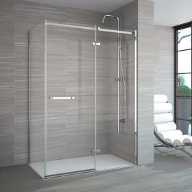 Merlyn 8 Series Frameless Hinge & Inline Panel with Side Panel