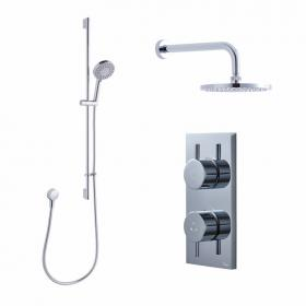 Crosswater Kai Dual Outlet Digital Shower Valve, Central Head and Central Shower Kit - Low Pressure
