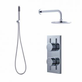 Crosswater Kai Dual Outlet Digital Shower Valve, Central Head & Handset - Low Pressure