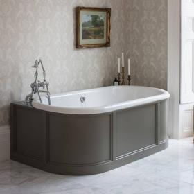 Burlington London Back To Wall 1800mm Bath with Curved Surround