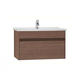 Vitra S50 Dark Oak 80cm Single Drawer Vanity Unit & Basin