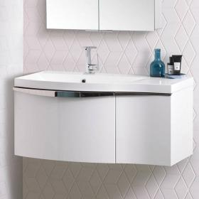 Roper Rhodes Serif Gloss White 900mm Wall Mounted Unit & Basin
