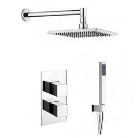 Crosswater Water Square Shower Head & Twin Shower Valve with Diverter