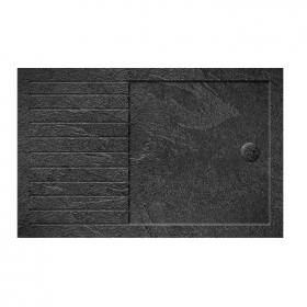 Simpsons 1600 x 800mm Grey Slate Walk In 35mm Shower Tray & Waste