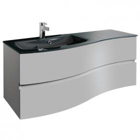 Bauhaus Svelte Storm Grey Matt 120 Vanity Unit & Charcoal Glass Basin