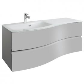 Photo of Bauhaus Svelte Storm Grey Matt 120 Vanity Unit & Ice White Glass Basin
