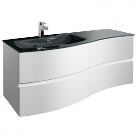 Bauhaus Svelte White Gloss 120 Vanity Unit & Charcoal Glass Basin
