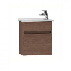 Vitra S50 Dark Oak Single Door 45cm Compact Vanity Unit & Basin