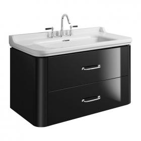 Bauhaus Waldorf 1000mm Black Gloss Two Drawer Vanity Unit and Basin