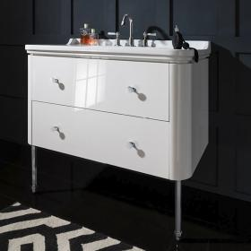 Bauhaus Waldorf 1000mm White Gloss Two Drawer Vanity Unit and Basin