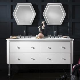 Photo of Bauhaus Waldorf 1500mm White Gloss Four Drawer Vanity Unit and Double Basin