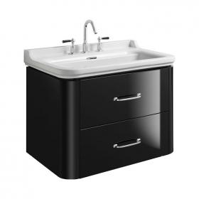 Photo of Bauhaus Waldorf 800mm Black Gloss Two Drawer Vanity Unit and Basin