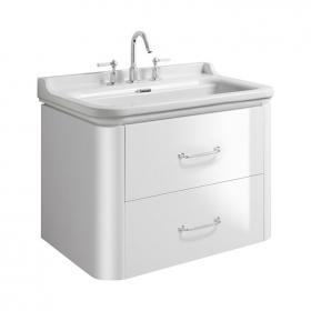 Photo of Bauhaus Waldorf 800mm White Gloss Two Drawer Vanity Unit and Basin