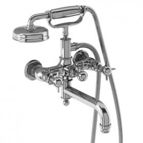 Arcade Chrome Crosshead Wall Mounted Bath Shower Mixer