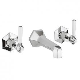 Photo of Crosswater Waldorf White Lever Wall Mounted Bath Filler