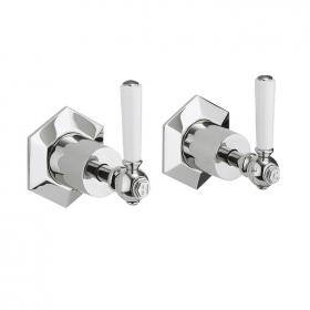 Photo of Crosswater Waldorf White Lever Wall Stop Taps