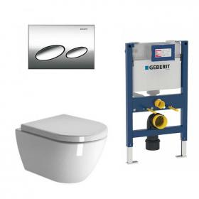 Zero Wall Hung Toilet & Seat With Geberit 820mm Cistern Frame & Kappa20 Flush Plate